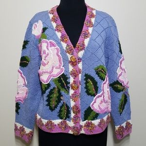 JTwo Collection Cardigan Sweater Floral Chunk Knit